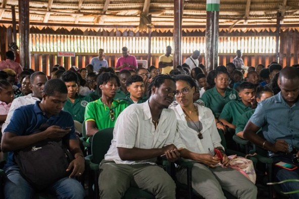 Youths gathered at the Interactive session on Guyana's oil and gas sector.