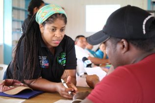 Senior Environmental Officer, Karen Small interacting with the forest operators during the workshop