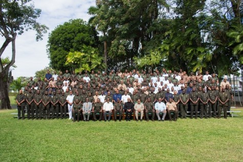 President and Commander in Chief, David Granger along with Ministers of Government and senior officers of the GDF.