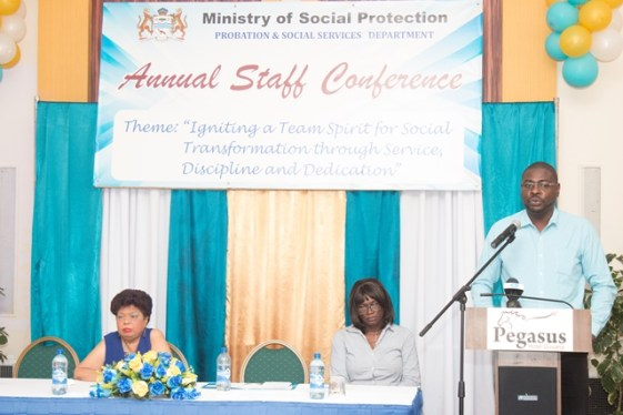 (from left to right) Minister of Social Protection, Amna Ally, Chairperson Egla October and Director of Social Services, Whenthworth Tanner.