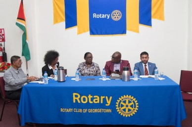 …(from left to right) Chairman Committee of the National Library, Rotary District Governor, Dominique Venre, Minister of Education, Dr Nicolette Henry, Chief Education Officer, Marcel Hutson and President of the Rotary Club of Georgetown, Ralph Persaud.