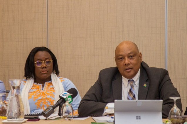 """Ministers Raphael Trotman and Simona Broomes engaging stakeholders on """"The National Mineral Sector Policy Framework and Actions""""."""