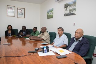 Minister of Natural Resources, Raphael Trotman and his team as the met with members of the public during the ministry's Open Day.