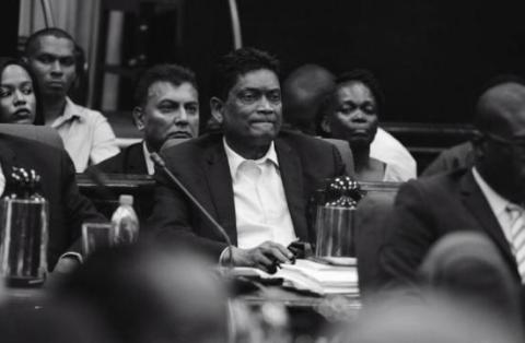 Former Member of Parliament, Charrandass Persaud during the 111th Sitting of the 11th Parliament.