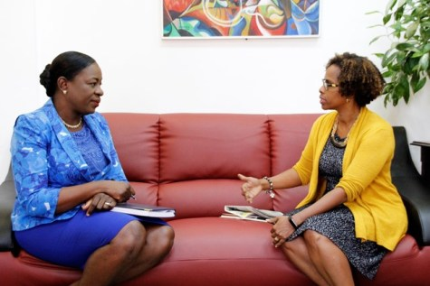 Minister of Education, Dr. the Hon. Nicolette Henry in conversation with new FAO Representative to Guyana, Dr. Gillian Smith.