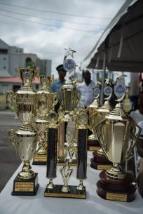 Some of the trophies handed out to outstanding graduates.