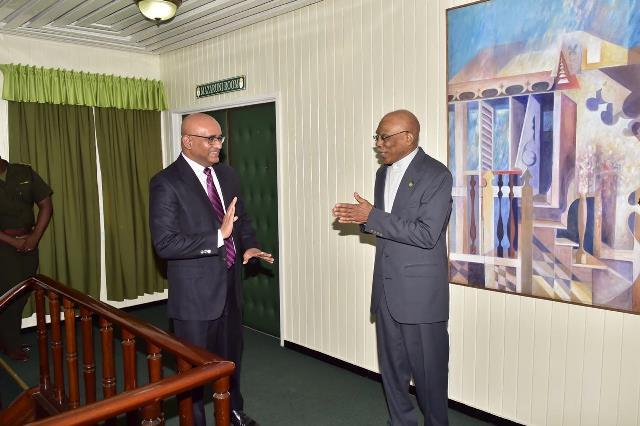 President David Granger greets Opposition Leader, Bharrat Jagdeo.