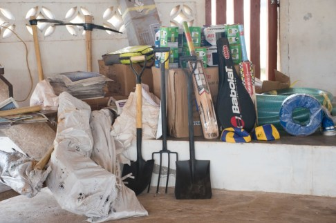Some of the farming equipment and sports gear that was handed over to the residents of Rupertee and Kwatamang