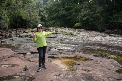 Minister of Public Affairs, Dawn Hastings-Williams at the waterfalls.