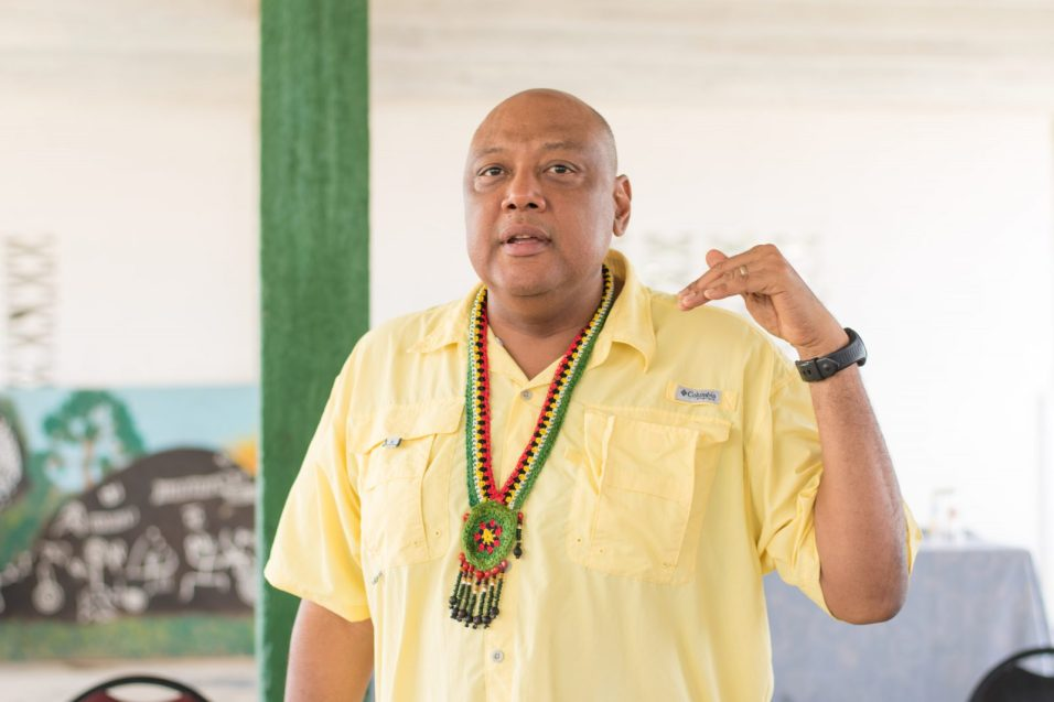 Minister of Natural Resources, Raphael Trotman in Aishalton addressing residents