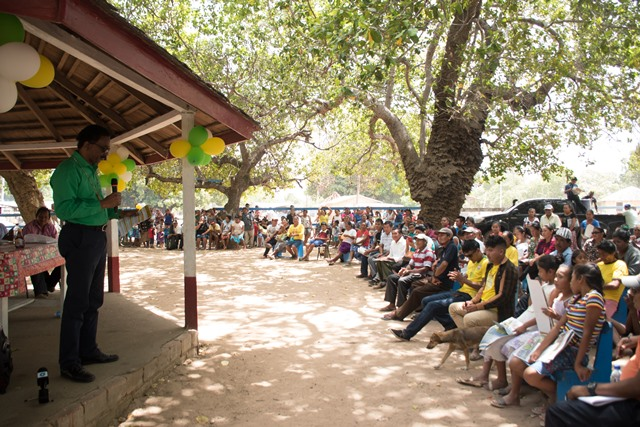 Attorney General and Minister of Legal Affairs, Basil Williams SC., addressing the residents of Karasabai.