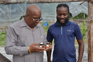 Minister of Finance, Winston Jordan examines the dried pepper produced and bottled by Jacobs Agro.