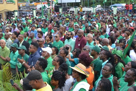 A section of the audience listening to President David Granger.