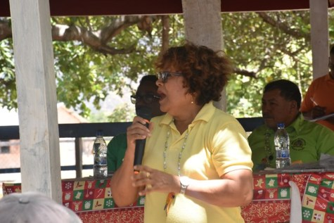 Minister within the Ministry of Peoples; Affairs Valerie Garrido-Lowe makes a strong point whilst addressing the Karasabai residents at the meeting.