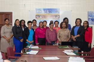 [In the photo, from right to left] Coordinator of the Counter-Trafficking Unit, Tanisha Williams-Corbin and shelter operators from the Ten Administrative Regions.