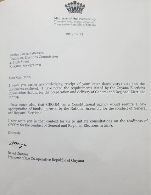 Letter sent by President David Granger to GECOM's Chairman, Justice (ret'd) James Patterson.
