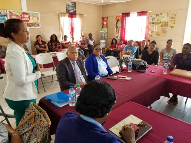 Minister of Social Cohesion, Dr. George Norton and team, including Region 6 REO, Kim Williams-Stephen, during a recent visit to the Humanitarian Mission Guyana office, at Port Mourant, Corentyne