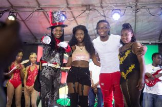 [In the photo, fromleft to right] Reigning Junior Soca Monarch Jovinski Thorne, runner -up Faith Corrica, former Reigning Junior Soca Monarch, in third, Dexter Copeland and in fourth, Jada Harry