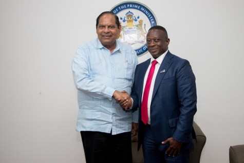 Deputy Minister of Mineral Resources of South Africa, Godfrey Oliphant and Prime Minister, Moses Nagamootoo.