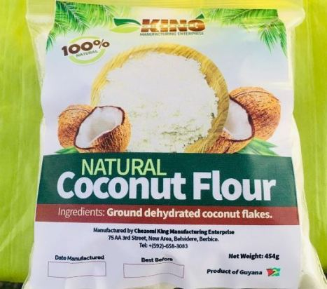 Packaged Coconut flour locally produced by King Chezomi Enterprise.