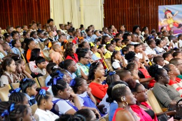 A section of the audience looking at the performances.