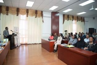 Minister of Public Security, Khemraj Ramjattan addressing participants of the training workshop.