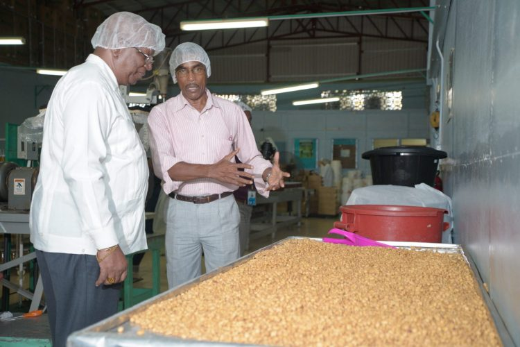 Minister of Finance, Winston Jordan listens as Tandy's Director, Burt Denny explains the process of making peanut butter