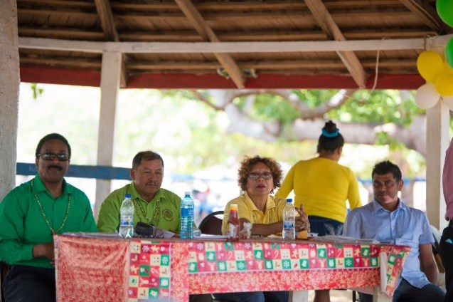 From Left: Attorney General and Minister of Legal Affairs, Basil Williams SC., Minister of Indigenous Peoples' Affairs, Sydney Allicock, Minister within the Ministry of Indigenous Peoples' Affairs, Valerie Garrido-Lowe and Toshao of Karasabai, Shaun Kartright at the village meeting in Karasabai.
