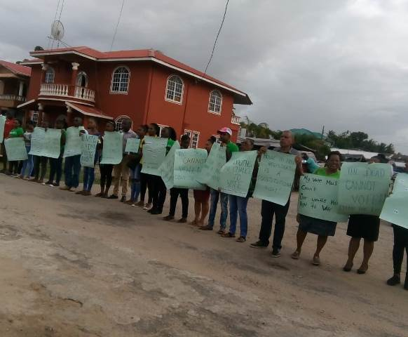 Scenes from the GECOM protest in Bartica.
