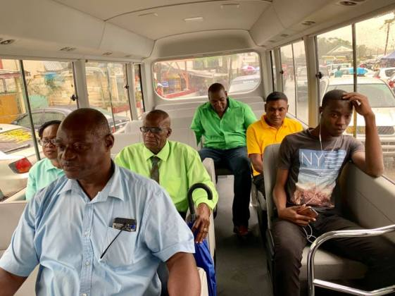 Regional officials taking a test drive in the new 30-seater bus