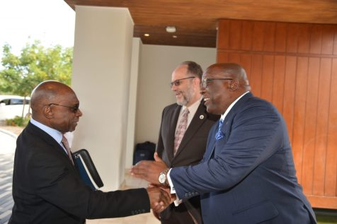 Minister of Foreign Affairs, Carl Greenidge greets Prime Minister of St. Kitts and Nevis, Dr Timothy Harris upon arrival