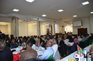 A section of the packed St. Stephen's Church Hall in Queens, New York yesterday