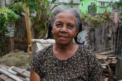 Doris Peters in her yard.