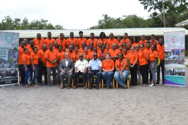 Director-General (ag) of the Civil Defence Commission (CDC), Lieutenant Colonel Kester Craig, ExxonMobil Representaive, CDC Staff members, Professor Michael Scott, Deputy Vice Chancellor, University of Guyana and VERT participants