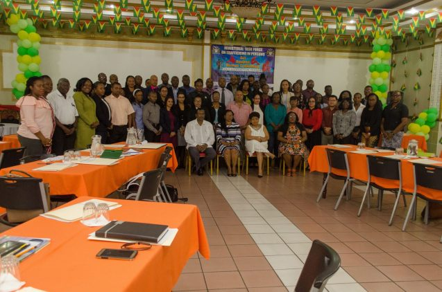 Minister of Public Security and Chairman of the Ministerial Task Force on Trafficking in Persons, Khemraj Ramjattan, Minister of Social Protection, Amna Ally, Acting Chancellor of Judiciary, Madame Justice Yonette Cummings-Edwards, CCH, OR, along with prosecutors and magistrates at the Discussion on the Prosecution of Trafficking in Persons Cases in Guyana