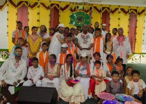 Government ministers pose with members of the Hindu community on Sunday during Phagwah Celebrations at the State House