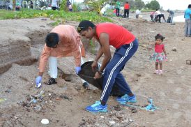 Mayor of Georgetown, Pandit Ubraj Narine along with Director of Solid Waste Management, Walter Narine participating in the clean-up effort