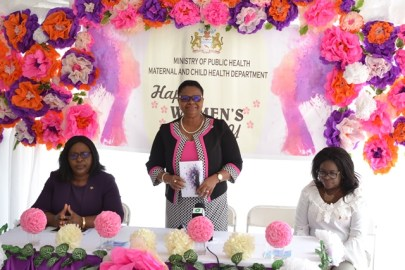 Minister of Public Health, Volda Lawrence with junior Health Minister Dr. Karen Cummings and Permanent Secretary, Dr. Collette Adams.
