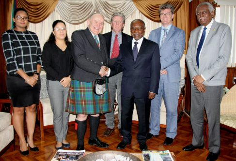 (l-r) Foreign Service Officer, Ms. Stephanie Savory, Lord Provost of Aberdeen, Mr. Barney Crockett, Managing Director of ABIS Energy, Mr. Francis Kiernan, Vice President and Minister of Foreign Affairs, the Honourable Carl B. Greenidge, British High Commissioner to Guyana, His Excellency Greg Quinn, Guyana's High Commissioner to the United Kingdom, His Excellency Frederick Hamley Case, and Foreign Service Officer, Ms. Abigail Welch