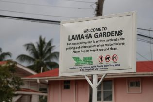 The new Lamaha Gardens sign commissioned at the junction of Duncan Street and Bel Air