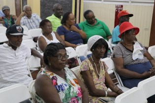 Residents at the meeting at the J.E Burnham Primary School in Kitty.