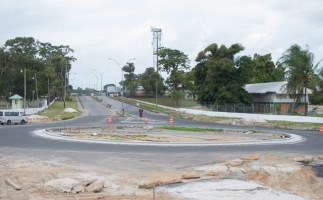 View of the nearly completed Timehri roundabout.