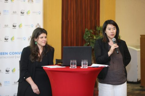 [In the photo, from left] Manager of the Green Fiscal Policy Network, Dr. Tatiana Falcao and United Nations Environment Senior Economic Affairs Officer, Dr. Joy Kim as they address the participants during the Green Conversations