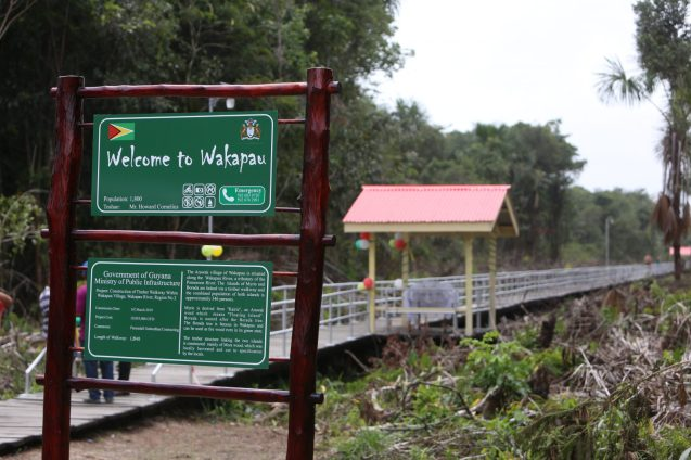 The newly constructed Timber Walkway linking the islands of Myrie and Borada in the community of Wakapau