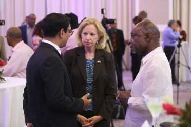 President of AMCHAM, Zulfikar Ally, US Ambassador to Guyana, Sarah-Ann Lynch and Minister of Foreign Affairs, Carl Greenidge, who is currently performing the duties of president.