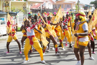 A section of revellers of the East Berbice/Corentyne Region Band.