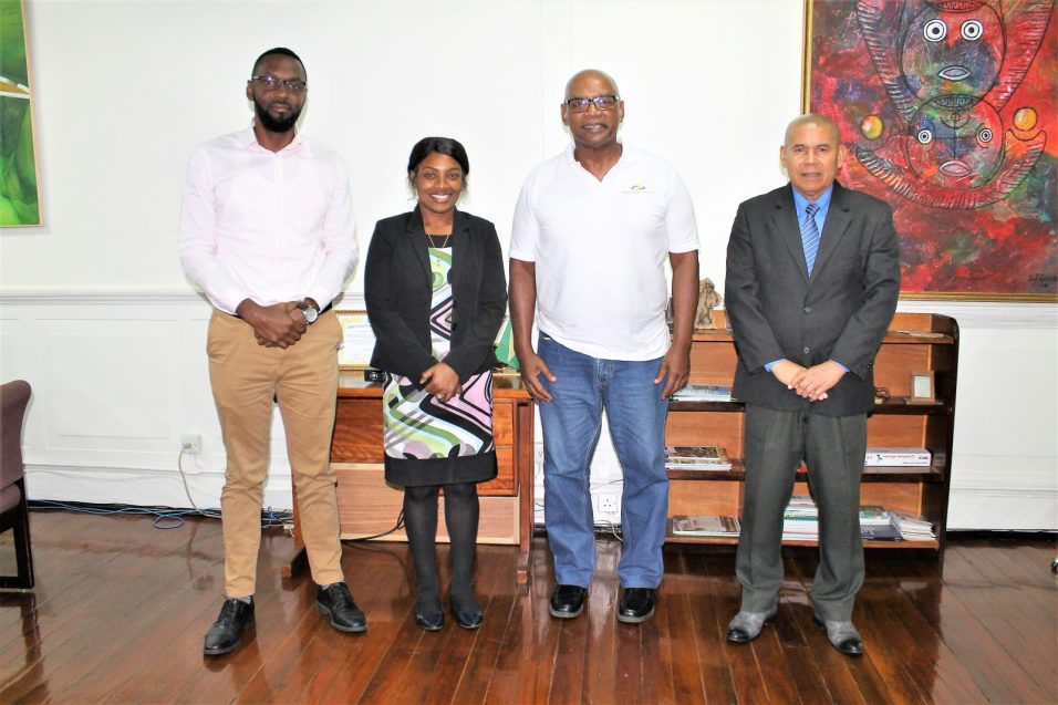 : (From right) the Honourable Minister of Social Cohesion with Responsibility for Culture, Youth and Sport, Dr. George Norton; Chairman of QC's Board of Directors, Mr. Alfred Granger; Permanent Secretary (ag), Ms. Melissa Tucker; and Director of Sport, Mr. Christopher Jones