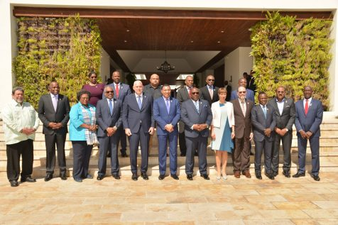 CARICOM Heads of Government at the opening of the Meeting of the Conference of Heads of Government St Kitts and Nevis on Tuesday