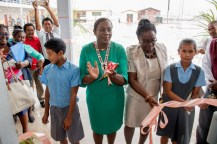 Minister of Education, Dr. Nicolette Henry along with Headteacher of Kato Secondary after cutting the ribbon to commission the school