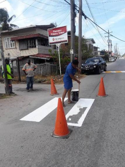 Painting of Pedestrian Crossing in front of Plaisance Primary School.